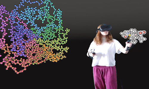 User interacting with protein via virtual reality